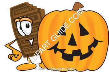 350x232 Clipart Cartoon Chocolate Bar With Halloween Pumpkin