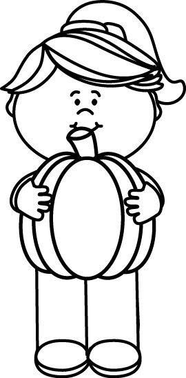 270x548 Black And White Girl Holding A Pumpkin Clip Art