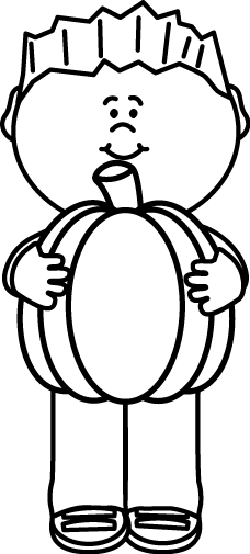 228x505 Black And White Kid Holding A Pumpkin Clip Art