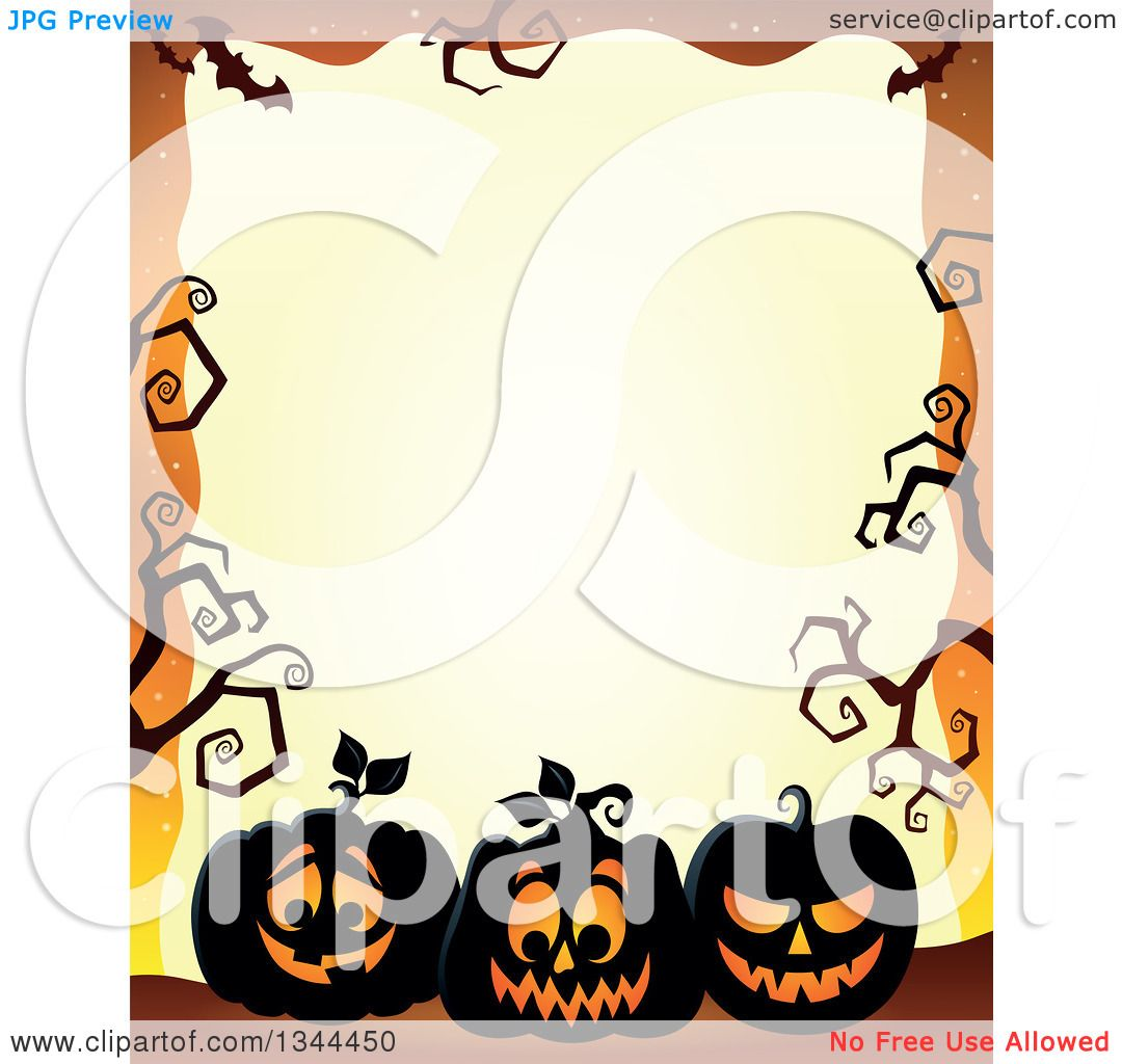 1080x1024 Clipart Of A Halloween Border Of Illuminated Jackolantern Pumpkins