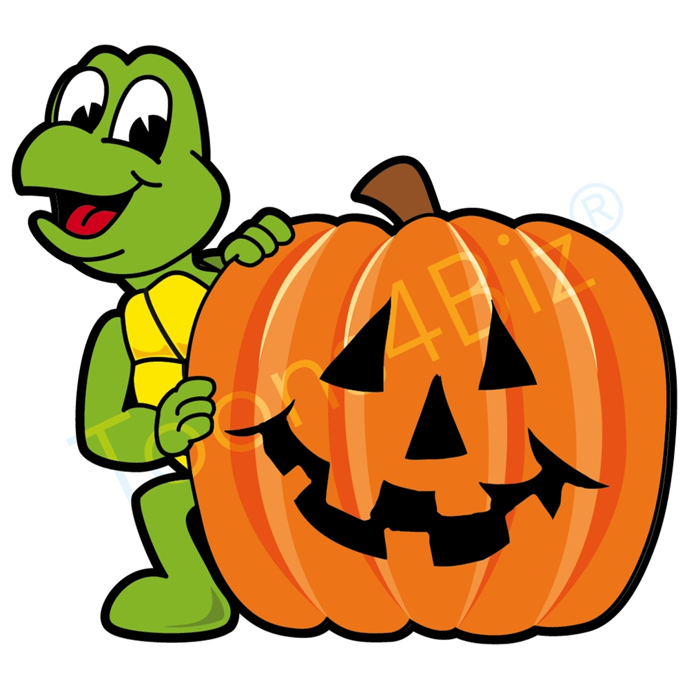 1000x1000 Turtle Mascot With Halloween Pumpkin Clip Art