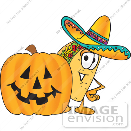 450x450 Clip Art Graphic Of A Crunchy Hard Taco Character With A Carved