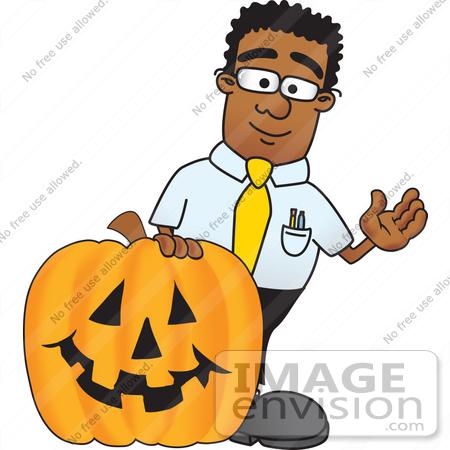 450x450 Clip Art Graphic Of A Geeky African American Businessman Cartoon
