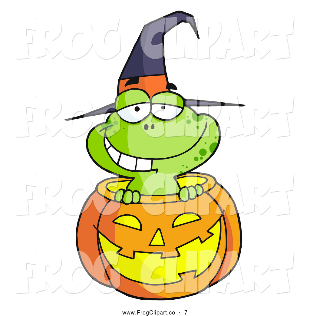 1024x1044 Clip Art Of A Happy Witch Costume Frog In A Carved Halloween