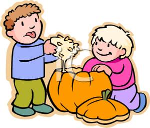300x255 Image A Boy And Girl Taking The Seeds Out Of A Pumpkin