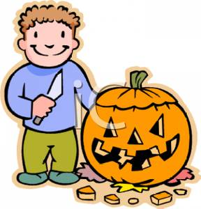 288x300 Picture A Young Boy Carving A Pumpkin On Halloween