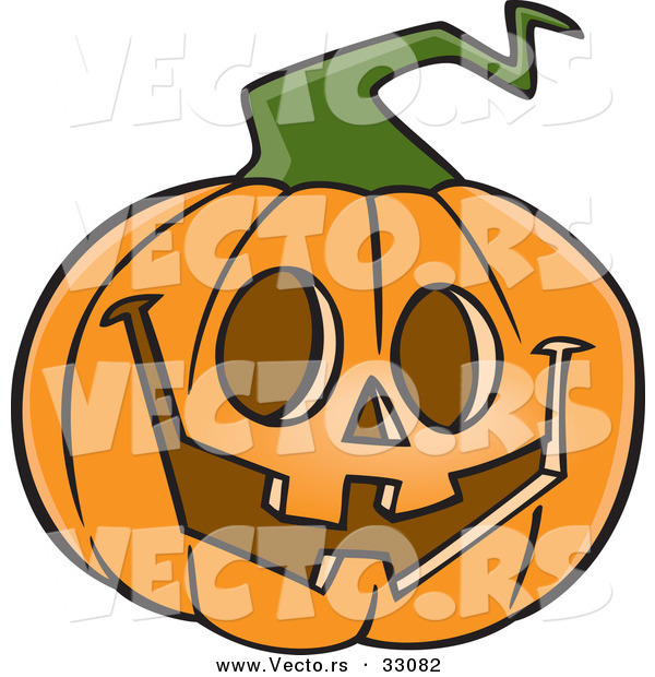 600x620 Vector Of A Happy Cartoon Jackolantern Pumpkin Carving