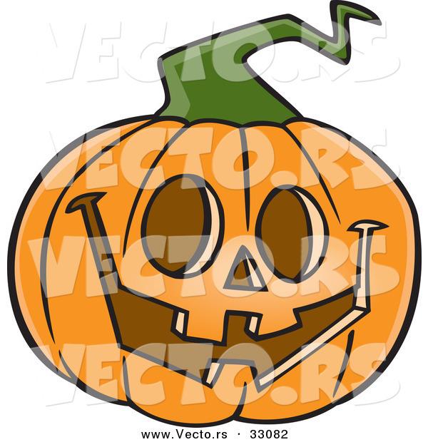 600x620 Vector Of A Happy Cartoon Jackolantern Pumpkin Carving