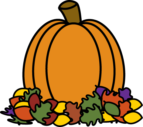 471x420 Pumpkin In Autumn Leaves Clip Art