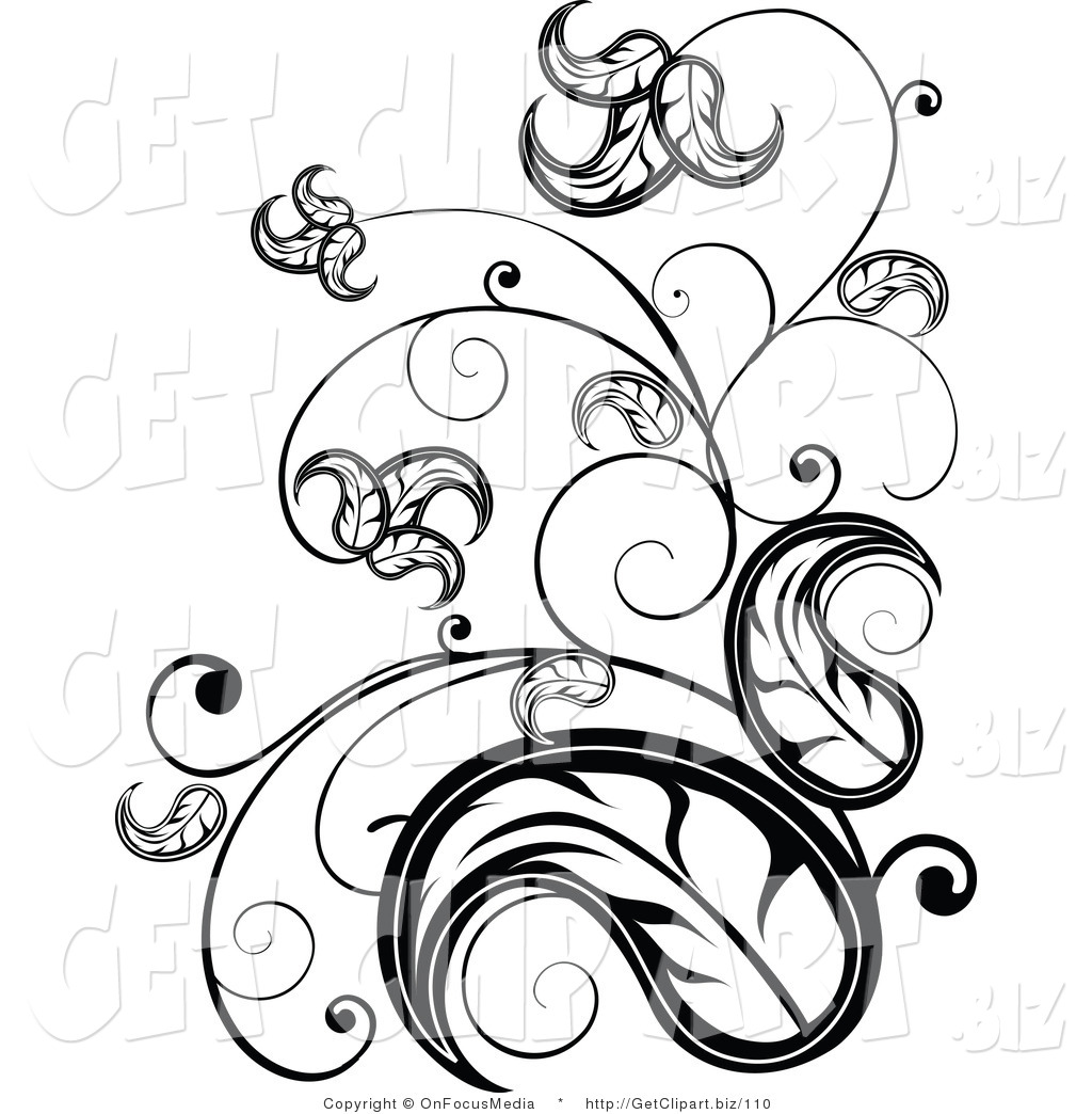 1024x1044 Clip Art Of An Elegant Black And White Leafy Vine Scrolling Design
