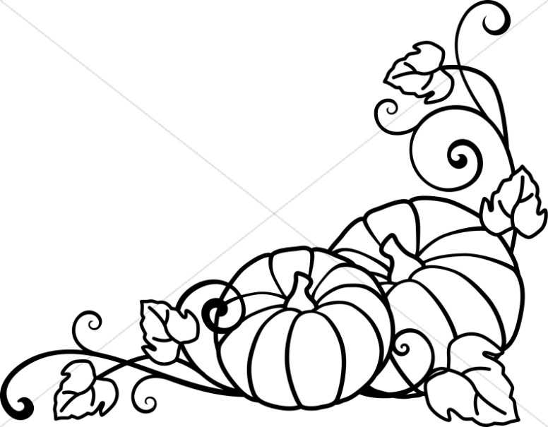 776x605 Pumpkins And Vines Lineart Harvest Day Clipart