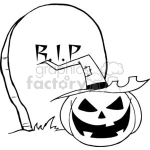 300x300 Royalty Free Black And White Cartoon R.i.p Gravestone With A Witch