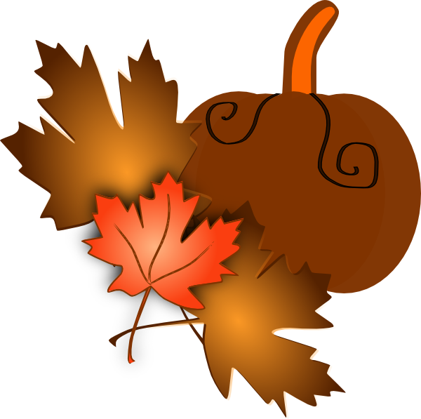 600x597 Pumpkin With Leaves Clip Art