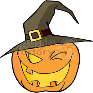 300x300 Royalty Free 3107 Halloween Pumpkin Winking A Witch Hat 380637