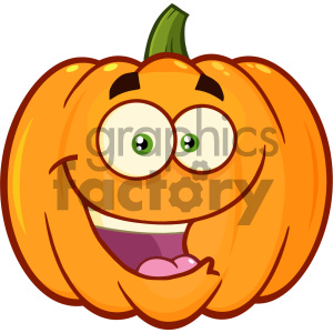 300x300 Royalty Free Happy Orange Pumpkin Vegetables Cartoon Emoji Face