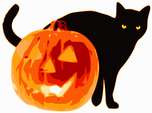 500x374 Vector Clip Art Of Black Cat And Pumpkin Public Domain Vectors