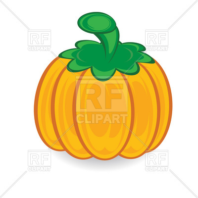 400x400 Cartoon Pumpkin With Green Stem Royalty Free Vector Clip Art Image