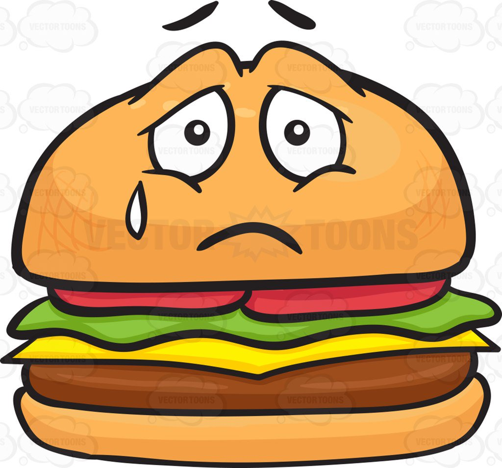 1024x954 Cheeseburger Expressing Sadness With A Tear Cartoon Clipart