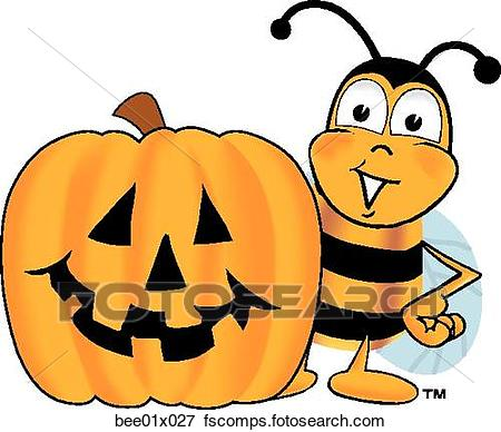 450x388 Clip Art Of Bee With Pumpkin Bee01x027