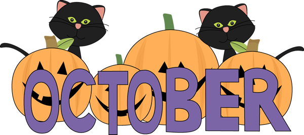 600x267 October October Pumpkins And Black Cats Clip Art Image