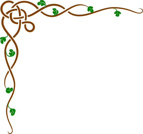 600x563 Brown Celtic Vine Wgreen Leaves Clip Art