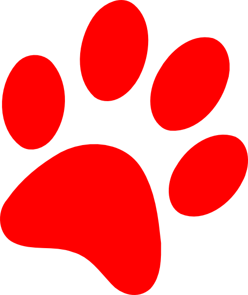 504x598 Red Puppy Paw Print Clipart