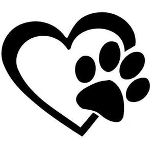 300x300 Catdogpet Paw Print Heart Car Decal Body Sticker Australian
