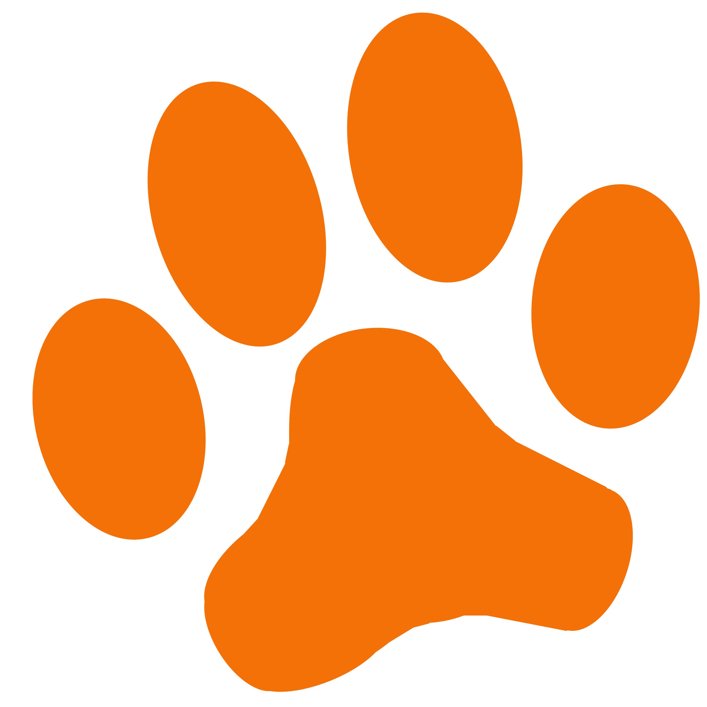 3000x3000 Orange Dog Paw Print Clipart