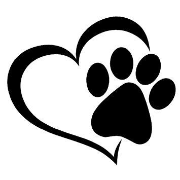 355x355 Runakan Pet Paw Print With Heart Dog Cat Vinyl Decal Car Window