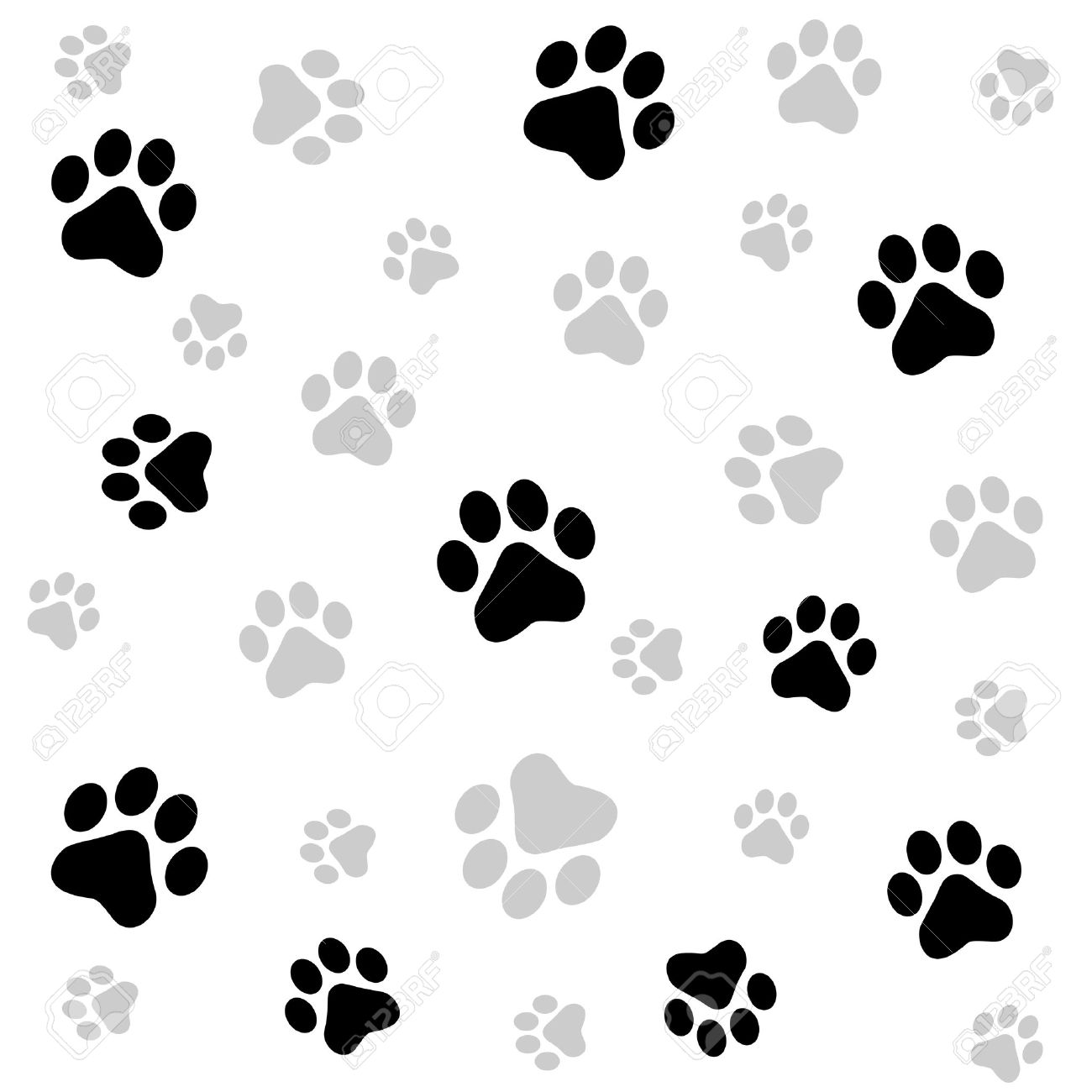 1300x1300 Dog Paw Print Seamless Pattern On White Background Royalty Free