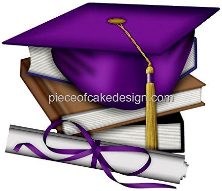 450x387 14 Sheet ~ Purple Graduation Cap Amp Books Birthday ~ Edible Cake