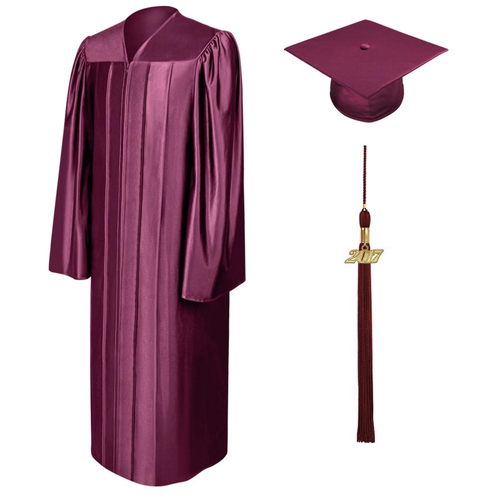 1000x1000 Shiny Maroon Middle School Cap, Gown Amp Tassel Gradshop