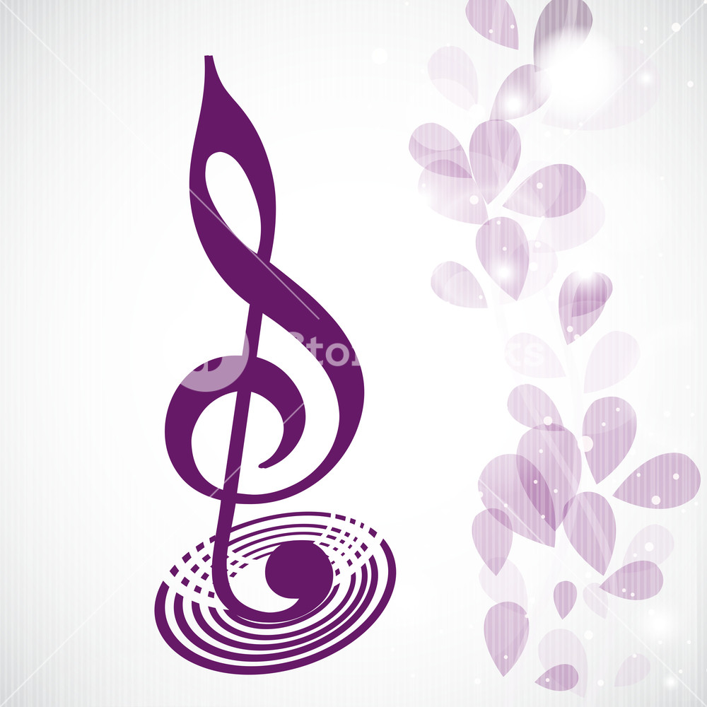 1000x1000 Vector Musical Concept With Musical Note On Floral Decorated