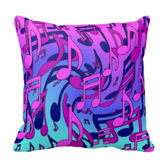 324x324 Custom Purple Music Note Throw Cushions Zazzle.co.uk