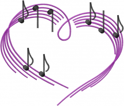 400x344 Heart Musical Notes Embroidery Designs, Machine Embroidery Designs