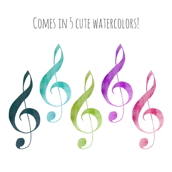570x570 Clip Art Watercolor Music Notes Digital Download Clipart