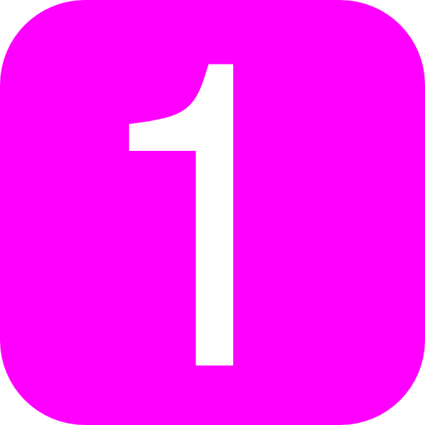 600x600 Pink, Rounded, Square With Number 1 Clip Art