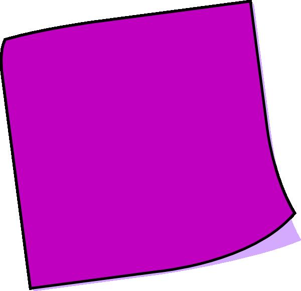 600x580 Purple Blank Sticky Note Clipart