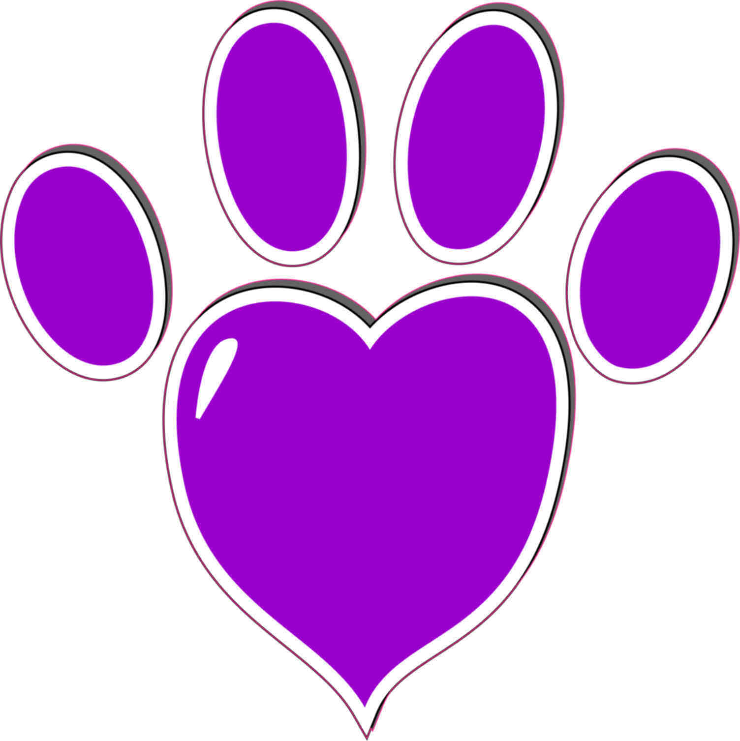 1504x1507 5x5 Purple Heart Paw Print Bumper Sticker Vinyl Vehicle Window