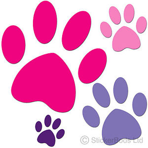 300x300 96x Paw Print Stickers Car Decals Animal Any Colours Ebay