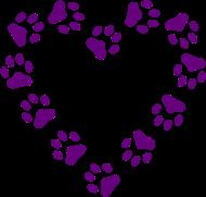 190x181 Purple Sparkle Paw Print Heart On White T Shirt T Shirt