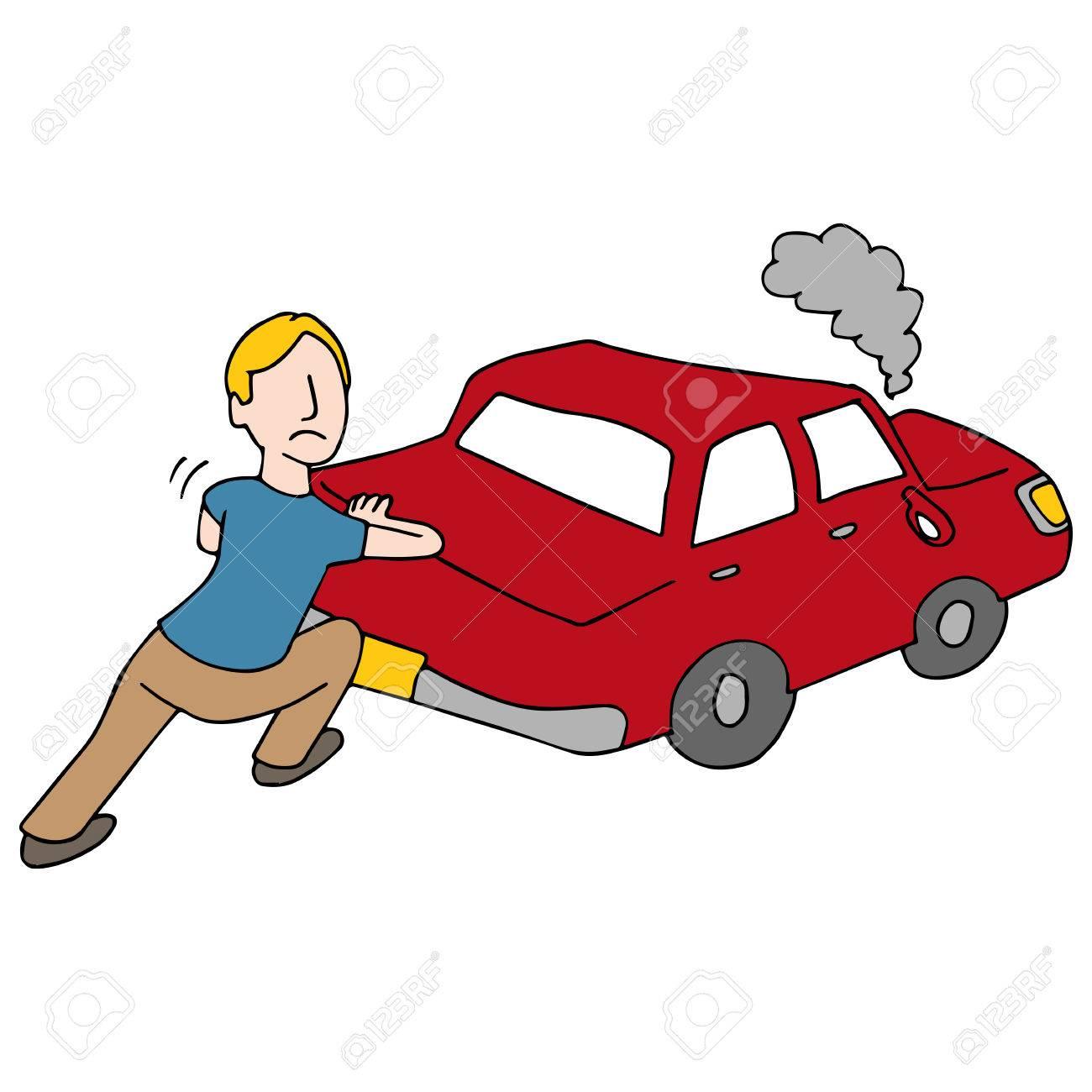 1300x1300 An Image Of A Man Pushing Broken Down Car. Royalty Free Cliparts