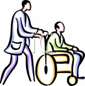 295x300 Pushing Wheelchair Clipart Image