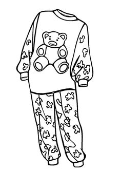 236x333 Pajamas Coloring Page Outline K Pajama Party