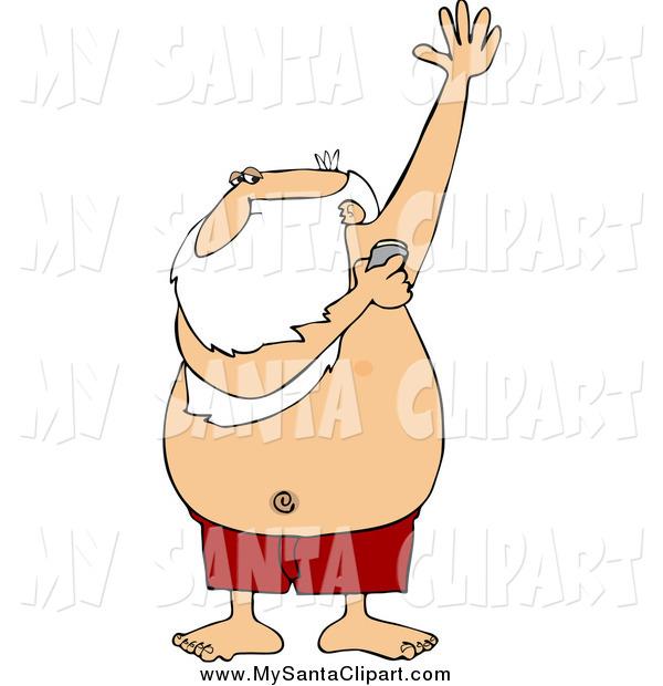 600x620 Christmas Clip Art Of Santa Claus Applying Under Arm Deodorant By