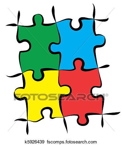 396x470 Clip Art Of Colorful Puzzle Pieces K5926439