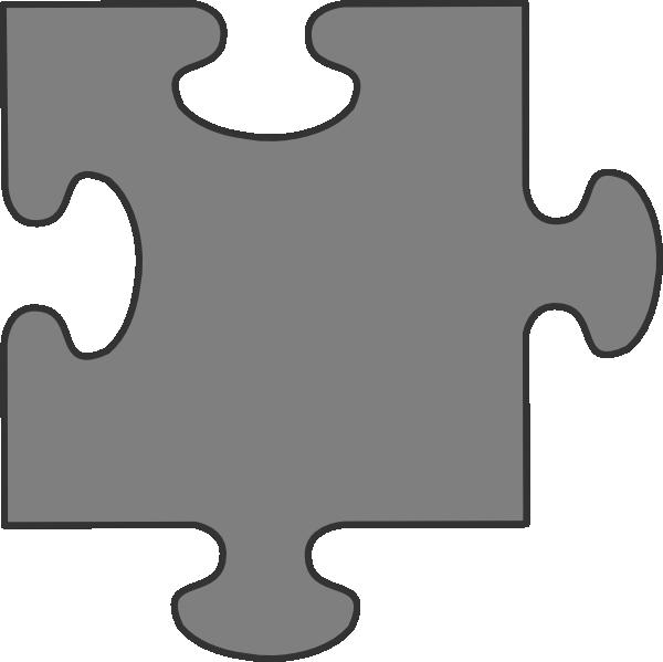 600x599 Gray Border Puzzle Piece Clip Art