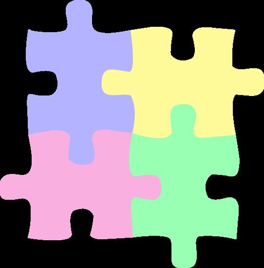 542x550 Four Pastel Colored Puzzle Pieces Free Clip Art Image
