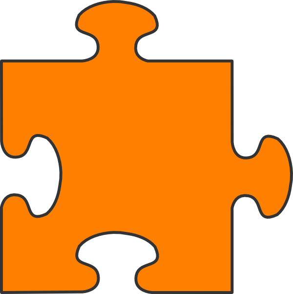 600x601 Orange Puzzle Piece Clip Art