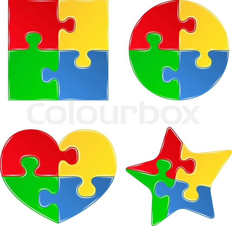 800x778 Vector Shapes Of Jigsaw Puzzle Pieces Stock Vector Colourbox
